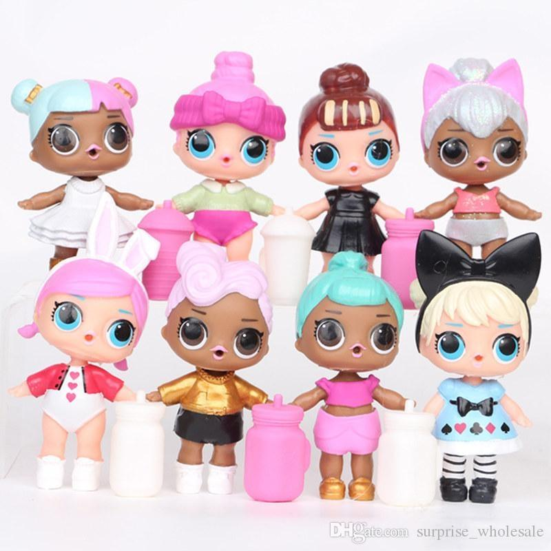 9CM LoL Doll with feeding bottle American PVC Kawaii Children Toys Anime Action Figures Realistic Reborn Dolls for girls 8Pcs/lot T42341