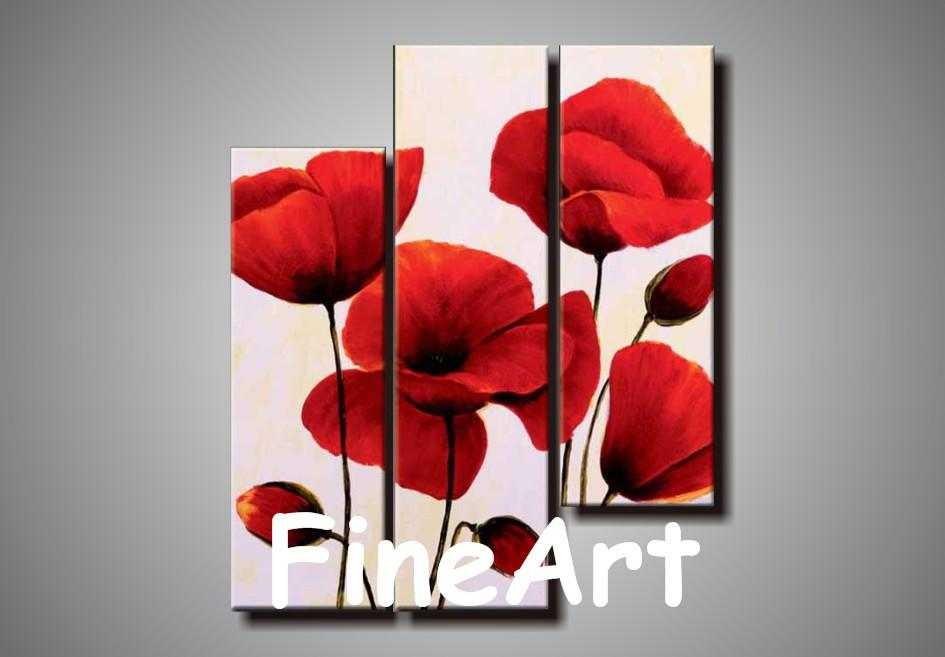 2018 100% Hand Painted 3 Panel Canvas Wall Art Abstract Red Flower ...