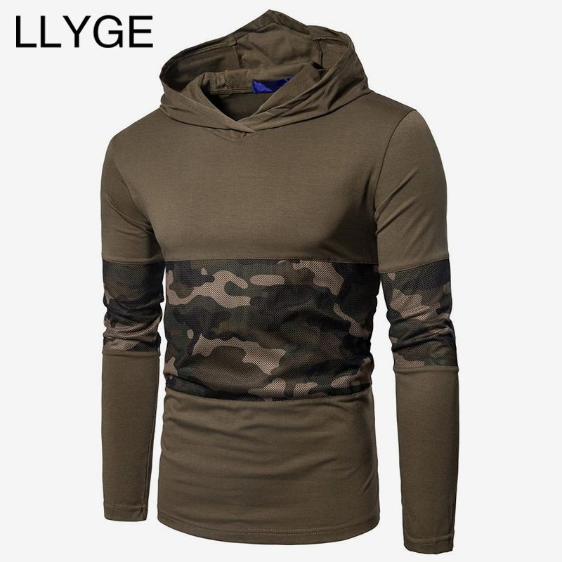 d2dd378519df2 2018 Autumn Men Hooded Sweatshirt Camouflage Patchwork Slim Hoodie ...