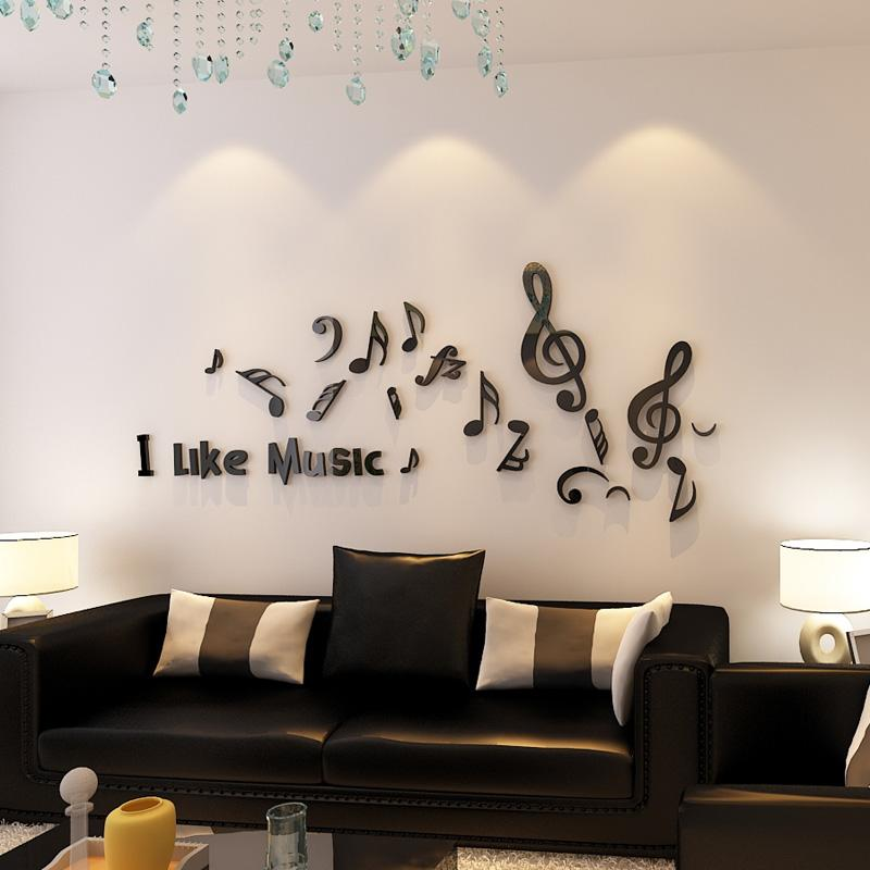 i like music musical note design acrylic wall stickers for living