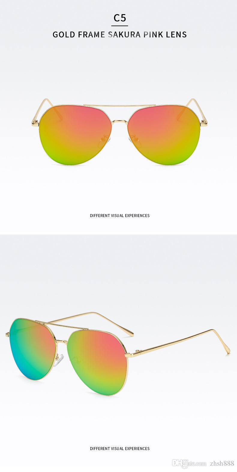 sunglasses designer brand women Fashion New 2018 Round Sunglass Women Vintage Metal Frame Pink Yellow Lens Colorful Shade Sun Glasses UV400
