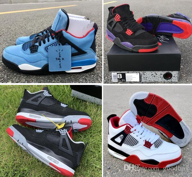 2f8db3dc274 2019 Bred 4s NRG Raptors Travis 4 Houston Oilers Fire Red TORO BRAVO ABOVE  With Box Best Quality Men Basketball Shoes Low Top Basketball Shoes Kevin  Durant ...