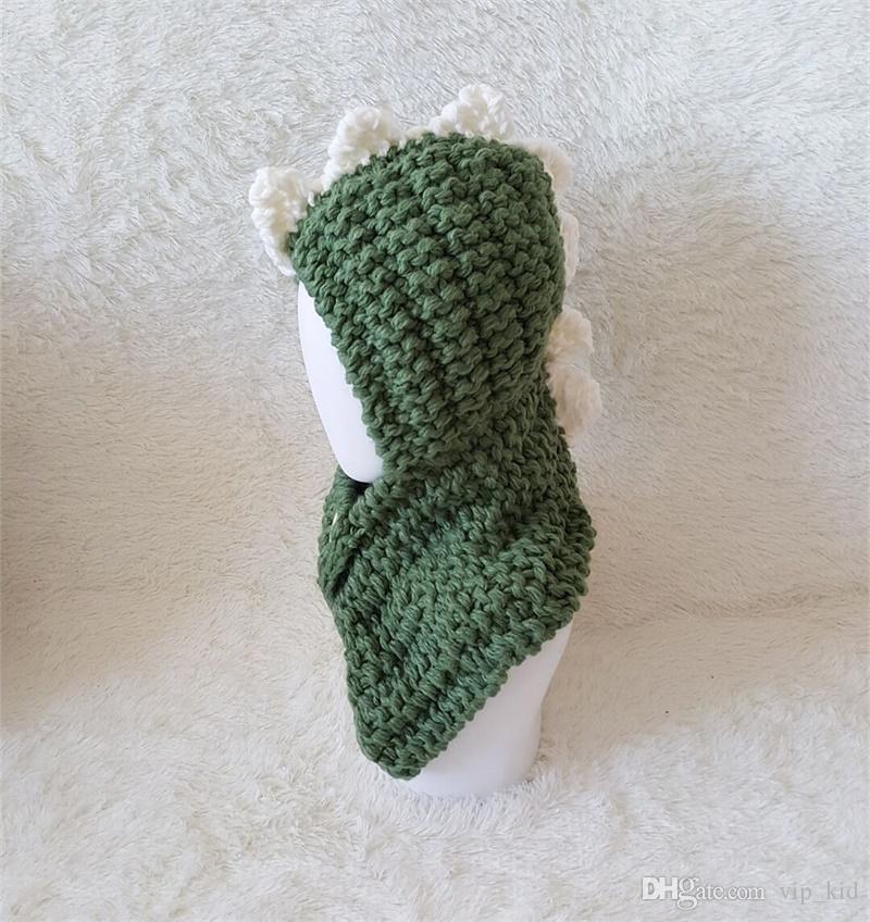 Children 's hat rabbit shawl autumn and winter scarf wool hat ear Warm dinosaur Hooded Scarf Hat Wool Knitted Crochet Cap