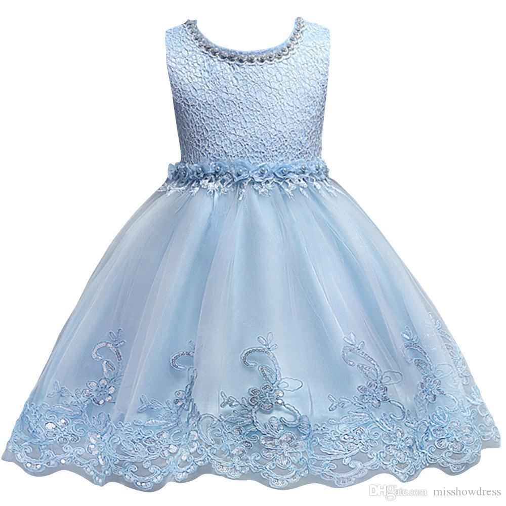 Cute Blue White Pink Little Kids Infants Flower Girl Dresses Princess Jewel Neck Short Formal Wears for Weddings First Communion MC0817