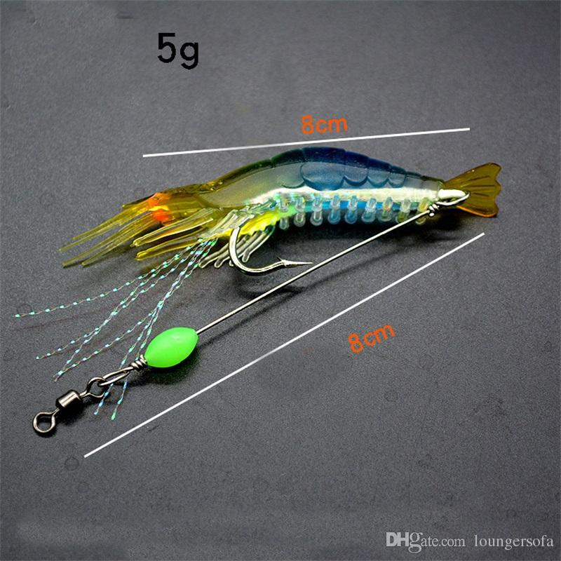 Shrimp Soft Lure 8cm/5g Fishing Artificial Bait With Glow Hook Swivels Anzois Para Pesca Sabiki Rigs Angle Lure Fishhook 1 9zz Z