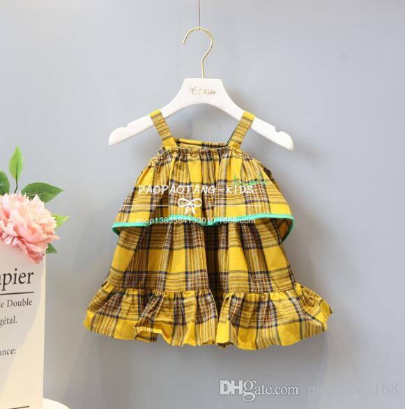 Elbise 2018 INS sıcak stilleri Yeni yaz kız çocuklar sevimli sarı ekose baskılı Elbise çocuklar zarif yüksek kalite dantel yelek elbise boyutu 80-120 cm