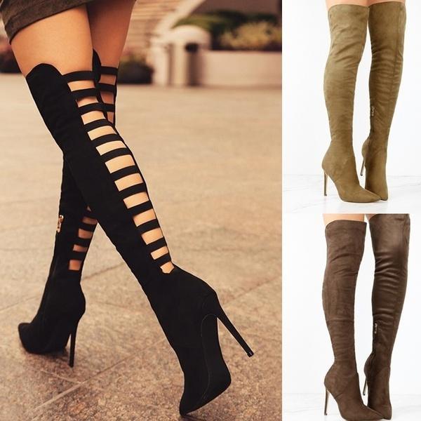 f369c14e9585 Acheter NOUVEAU Mode Femmes Automne Hiver Chaussures En Daim Talon Haut  Cuisse Bottes Élevées Bout Pointu Stiletto Bottes Mince Femelle Botte  Décontractée ...