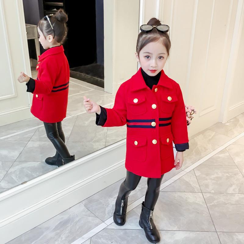 4db0db6c9 Winter Children Stripe Woolen Windbreaker Girls Lapel Long Sleeve ...