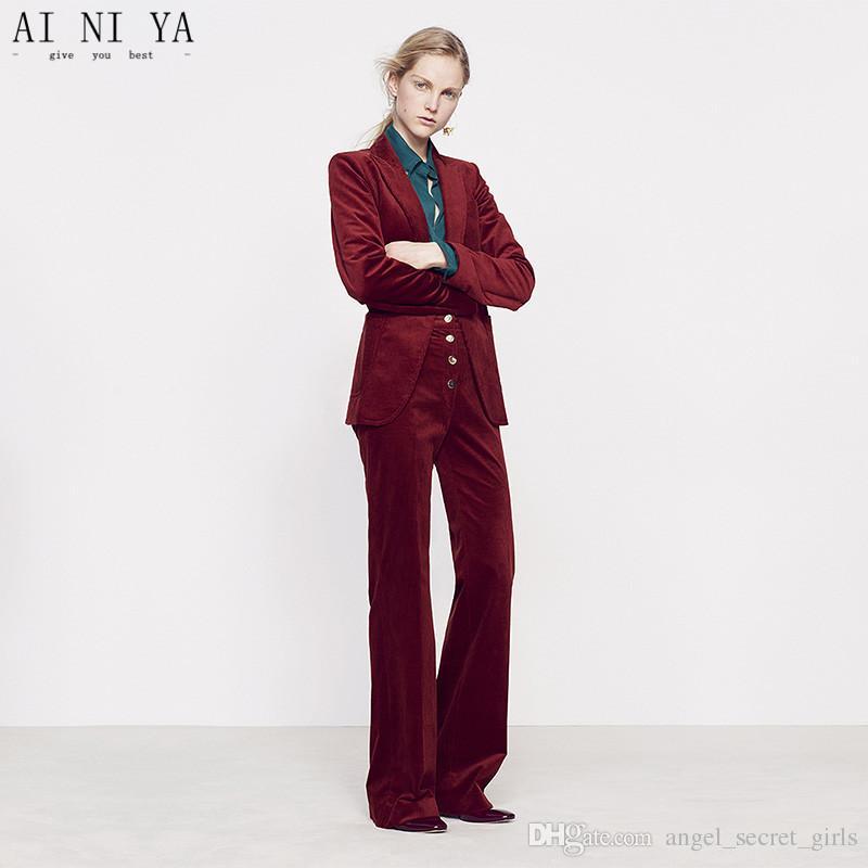 bfa1f2d7e345 Acquista Vino Rosso Donna Casual Ufficio Affari Abiti Velluto Formale  Abbigliamento Da Lavoro 2 Pezzi Set Ufficio Stili Uniformi Pantalone  Elegante Abiti ...
