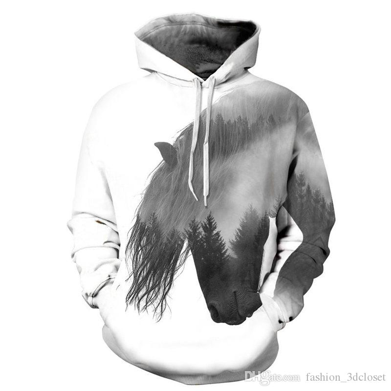 Animal Graffiti Men Hoodies Fitness Boys Streetwear Casual Hip Hop Tracksuit Spring 2018 Newly Sweatshirt Hooded Horse Print Top