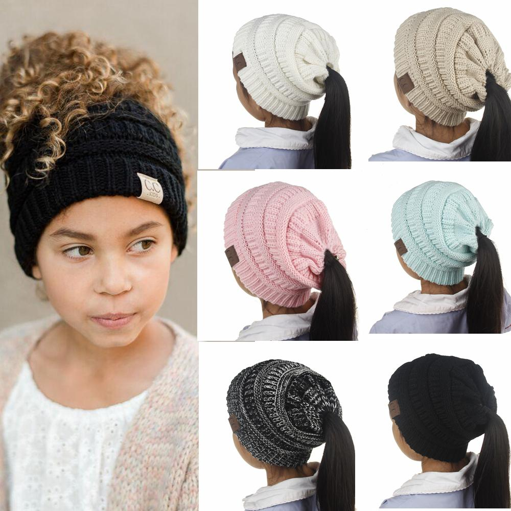 330b47525 6 Colors Girls Baby CC wool Ponytail Beanie Hats Crochet Winter Knitted  Skullies Kids Warm Caps Female Knit Messy Bun Hats AAA699