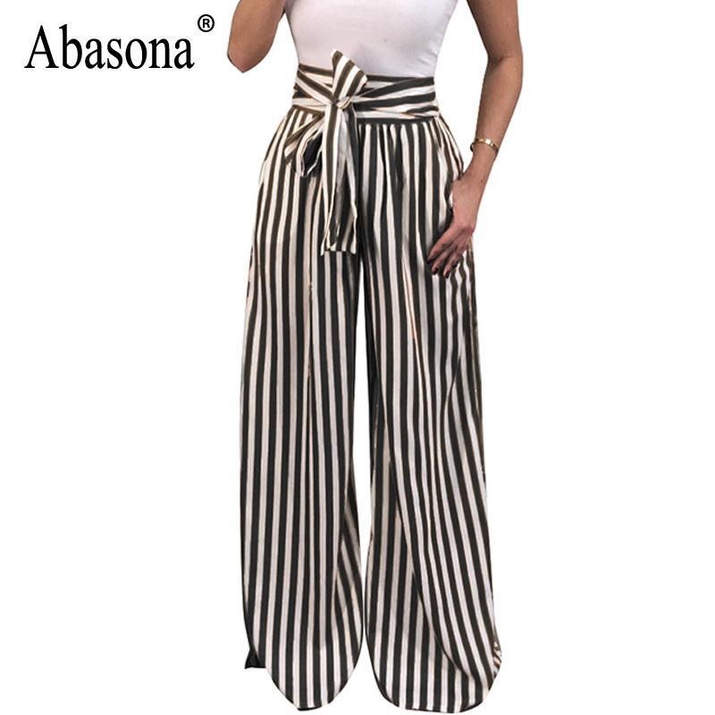 acd373820fd4c Acheter Abasona Femmes Rayé Pantalon Femmes Arc Ceintures Large Jambe Pantalon  Décontracté Bureau Dames Travail Porter Taille Haute Pantalon Femelle ...