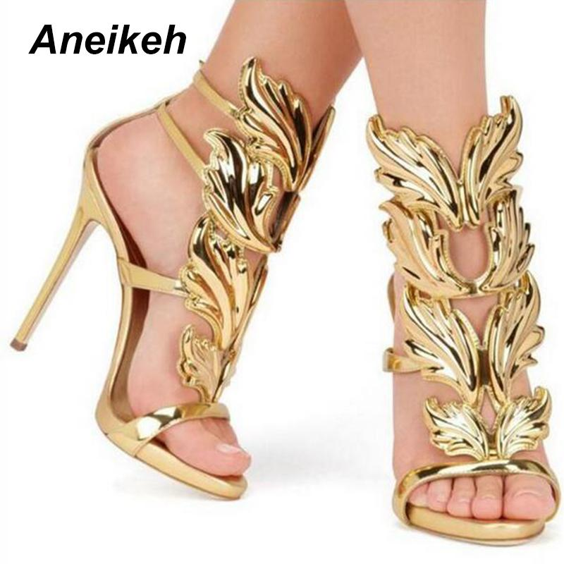 8f198a6f580 New Summer Women High Heel Sandals Gold Leaf Flame Gladiator Sandal Shoe  Party Dress Shoe Woman Patent Leather High Heels 866 50 Fringe Sandals  Silver ...