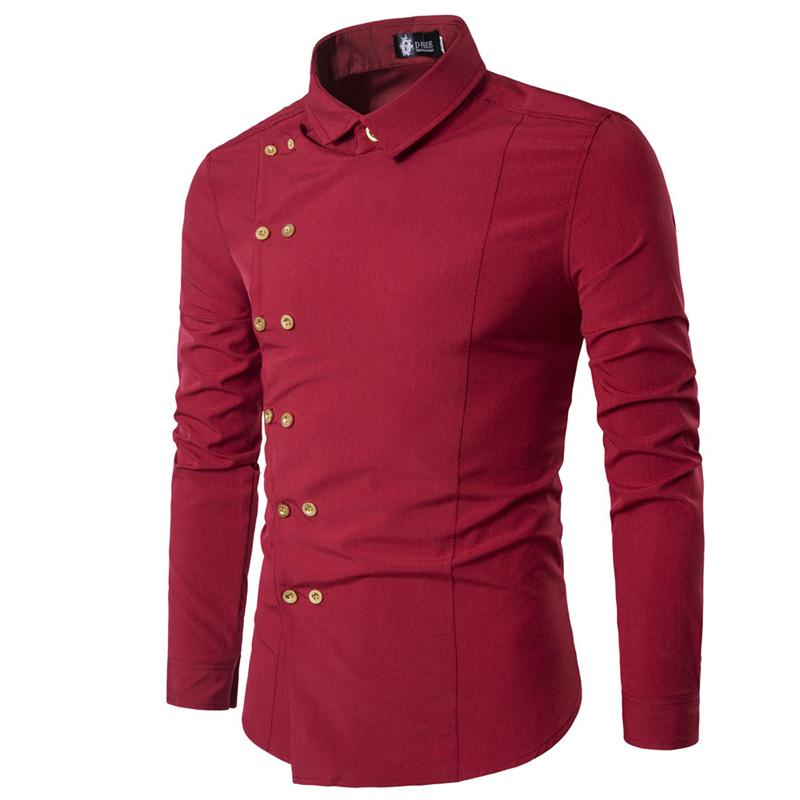 023c64999 2019 Men Shirt Double Breasted Dress Shirt Long Sleeve Slim Fit Camisa  Masculina Casual Male Hawaiian Shirts From Clothingdh