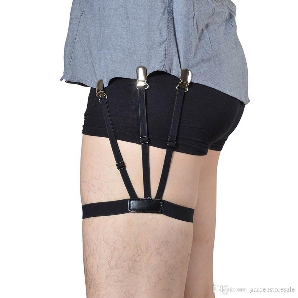 Men's Suspenders Brand Mens Shirt Stays Suspender Braces For Shirts Holder Gentleman Leg Elastic Women High Quality Garter Adjustable Suspenders Punctual Timing