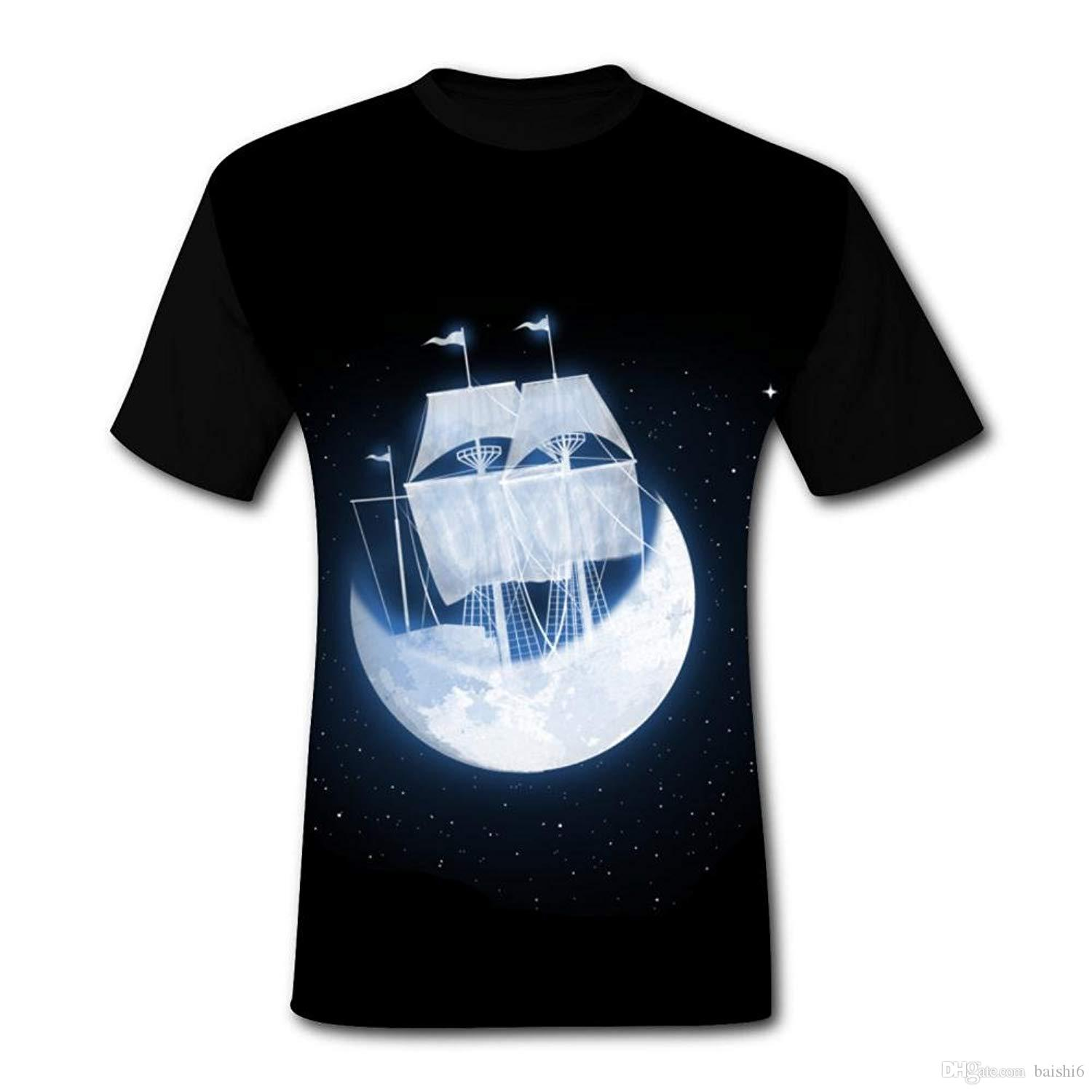 Moon Sailing Stylish Funny And Cool Mens Short Sleeved T Shirt