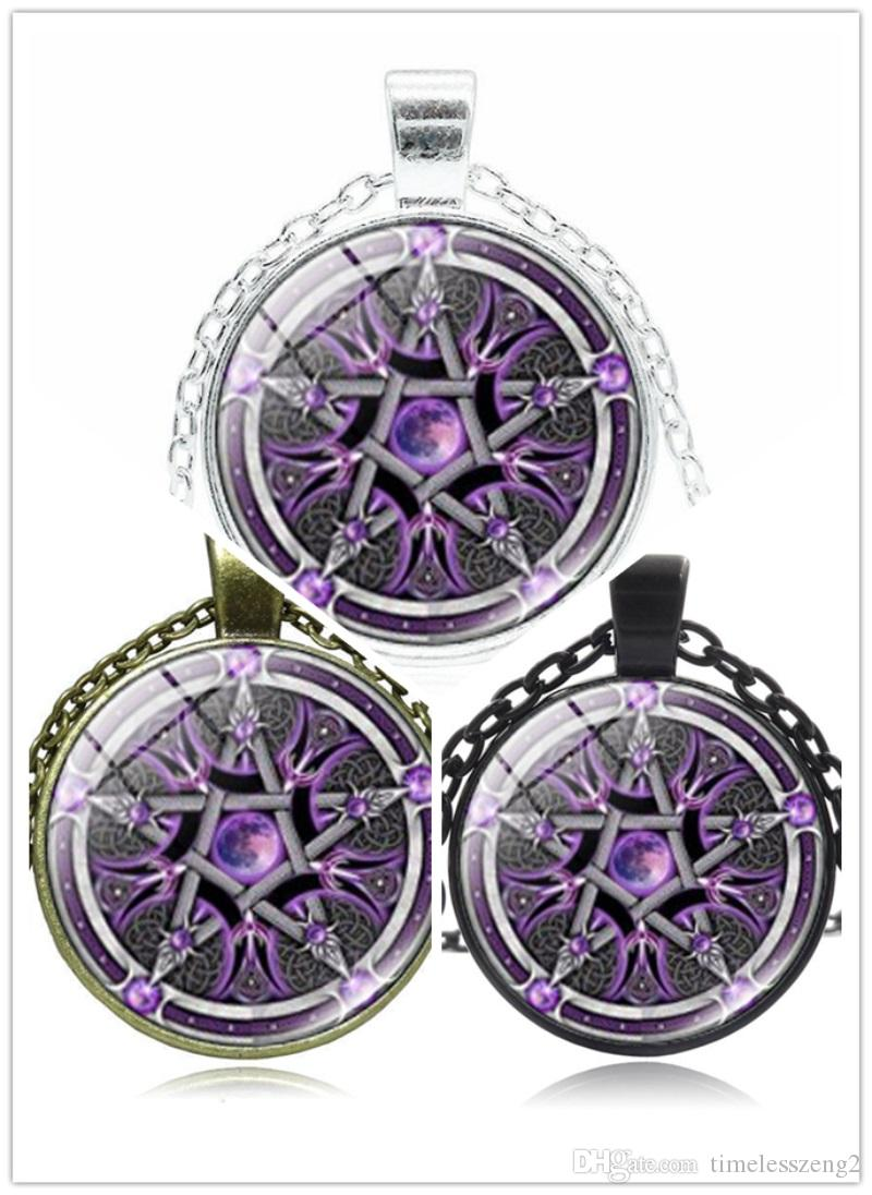 Wholesale Five Pointed Star Pattern Necklace Creative Color Magic Pentagram Pendant Necklaces Fashion Time Gem Cabochon With Chain Jewelry Ruby