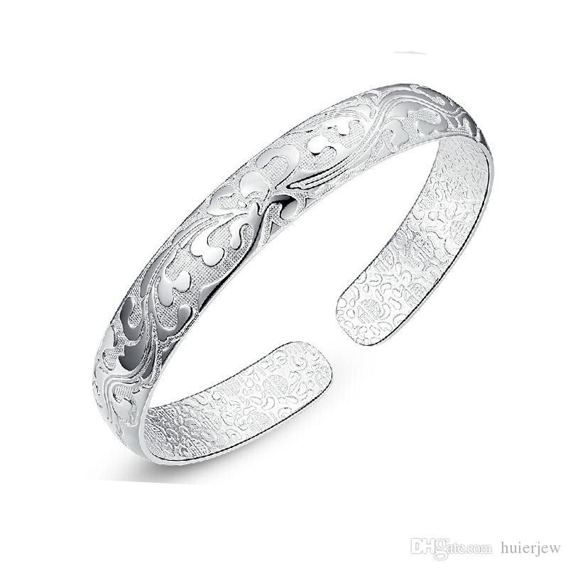 925 Sterling Silver Bangle Bracelet Chinese Style Women Bangles Chinese Word Flower Bradelets Bohemian Jewelry Cuff Bracelets Bangles