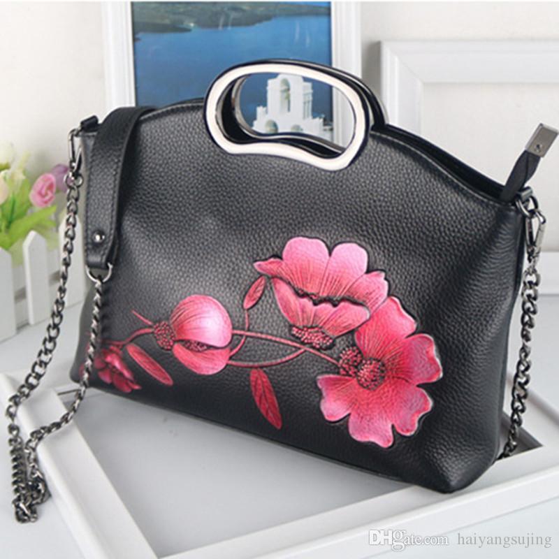 3378cc354c41 Genuine Leather Retro Bags Women First Layer Cowhide Luxury Handbag Female  Flower Embossed Messneger Bag Brand Chain Leisure Totes Bolsa Purses For  Sale ...