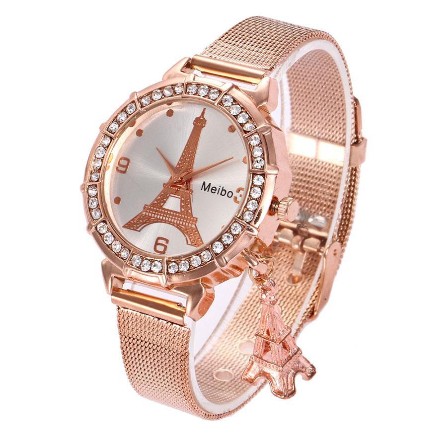 Großhandel Beste Frau Uhren Marke Luxus Eiffelturm Damen Rose Gold