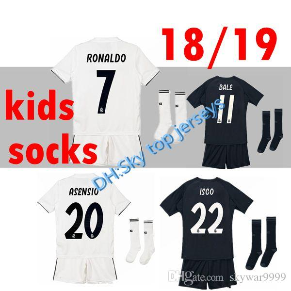 best service b1401 62ec6 Kids Kit Real madrid soccer Jersey 2018 2019 home away 18 19 RONALDO MODRIC  ISCO RAMOS Asensio Children customize teens Football wear