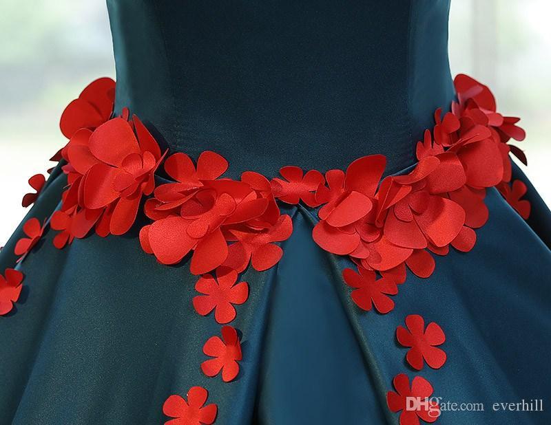 Teal azul vestido de baile longo até o chão vestidos de baile com beading vermelho Handmade 3D flores com decote em v Vestiti Da Prom 15 Vestido Quinceanera vestido
