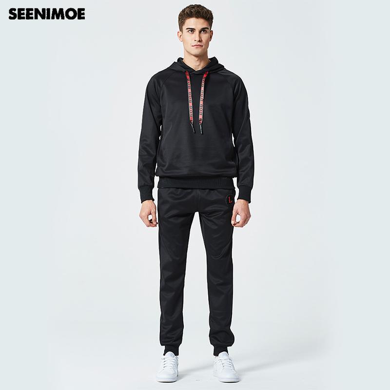 1a2afd36f5130 Compre Seenimoe 2018 Hoodied Coat Brand Mens Sets Sportsman Wear Traje De  Dos Piezas Para Hombres Sudadera Con Capucha + Pantalones Para Hombre Sweat  A ...
