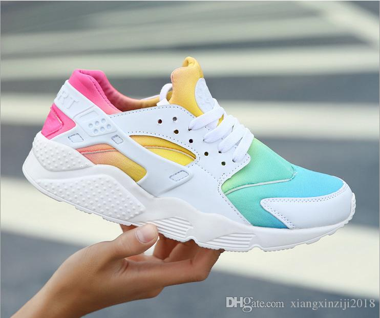 brand new 71bff a57c3 New Huarache Running Shoes Huaraches Rainbow Ultra Breathe Shoes Men &  Women Huaraches Multicolor Sneakers Air Size 36-45