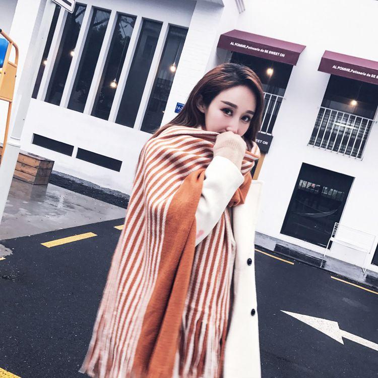 Winter Women's Faux Cashmere Scarves Fashion Tassel Striped Patchwork Thicken Warm Poncho Cape Wool Shawl