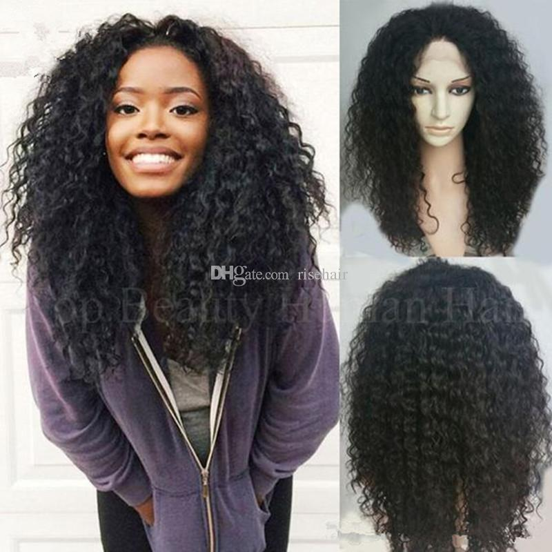 High quality hair Silk Top Full Lace Wigs Curly Malaysian Afro Kinky Curly Lace Front Human Hair Wigs Silk Base With Baby Hair