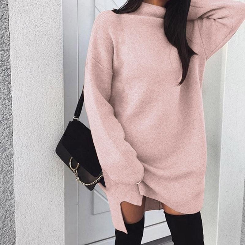 2019 Autumn Winter Knitted Dress Women Turtleneck Long Sleeve Warm Sweater  Dress Casual Solid Loose Mini Dresses Vestido Plus Size From Buttonhole a741be57c2f8