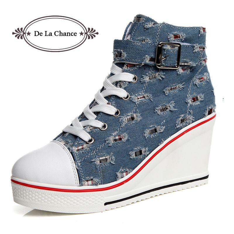 a70b36f14b66 Satın Al 2019 Rahat De La Şans Kadın Takozlar Nedensel Ayakkabı Kadın Nefes  Platformu Denim Kanvas Ayakkabılar Gizli Kama Sneakers Zapatillas Mujer