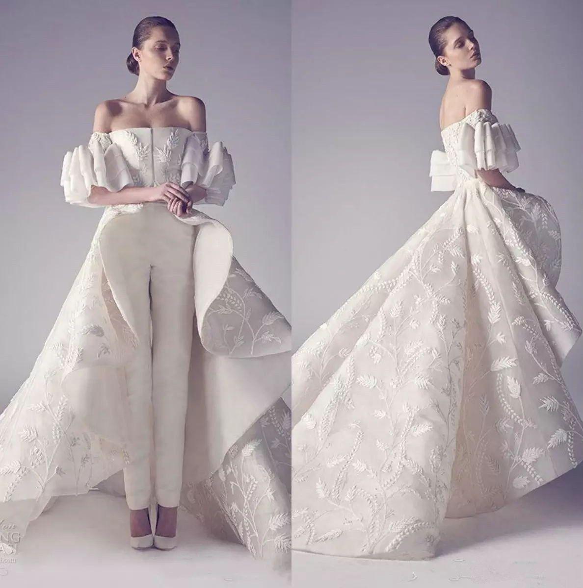 Discount Off Shoulder Ivory Wedding Dress Pants Suits Backless ...