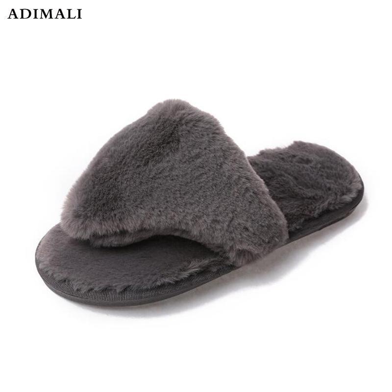 b18cf20aa185 2017 Chinelos De Ver O Feminina Zapatos Mujer Womens Ladies Slip On Sliders  Fluffy Faux Fur Flat Slipper Flip Flop Sandal Leather Boots For Women  Purple ...