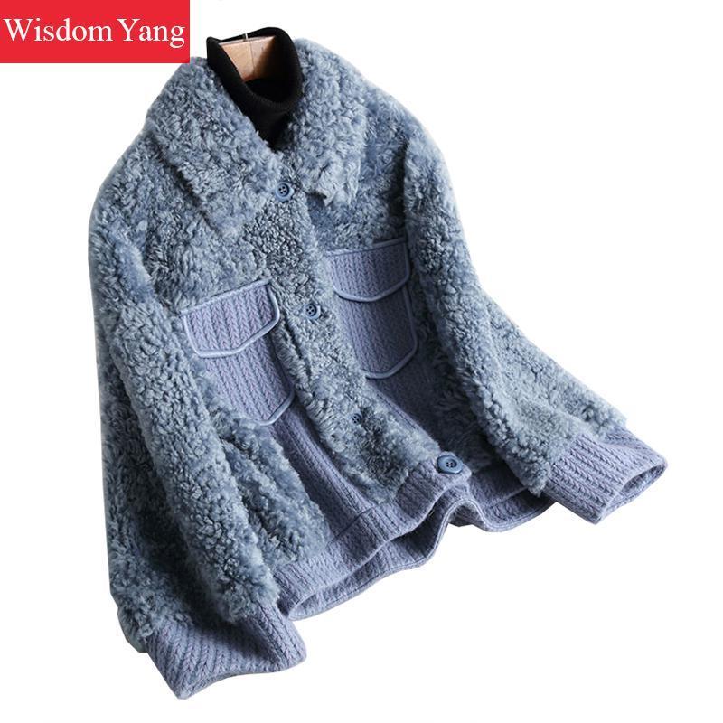 bff990af596e 2019 Winter Warm Wool Coat Beige Blue Jackets Sheepskin Shearing Woollen  Women Short Sweater Jacket Coats Woolen Overcoat Outerwear From Regine, ...