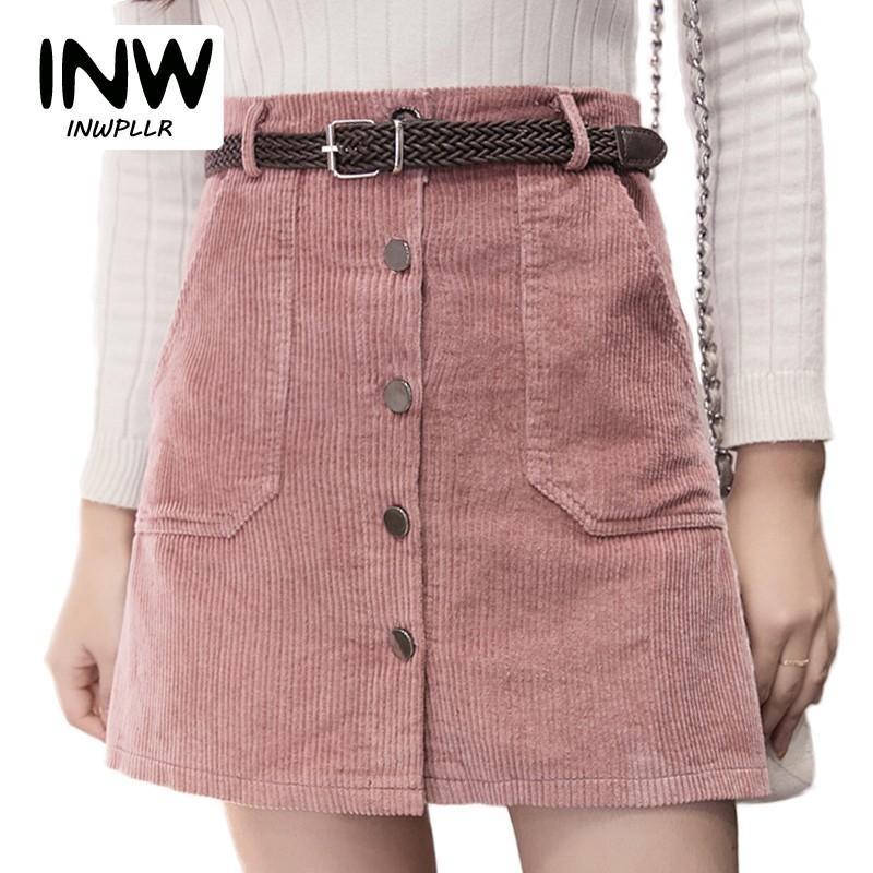 2c946c8bf 2018 Otoño Invierno Falda de Pana Señoras de Moda de Cintura Alta Faldas de  Las Mujeres de Moda Casual Negro Caqui Rosa Mini Saias Mujer C18111301