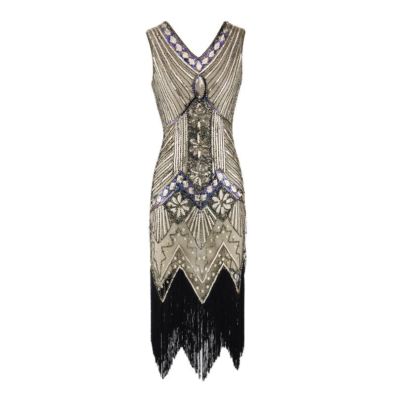 521ba146 2019 Women Vintage 1920s Flapper Dress V Neck Sequined Fringed Cocktail  Party Dress 20s Gatsby Costume For Prom Evening From Extend38, $119.74 |  DHgate.Com