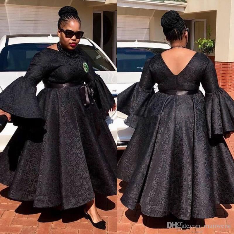 Aso Ebi Black Prom Dresses Plus Size Lace Ankle Length Party Dress