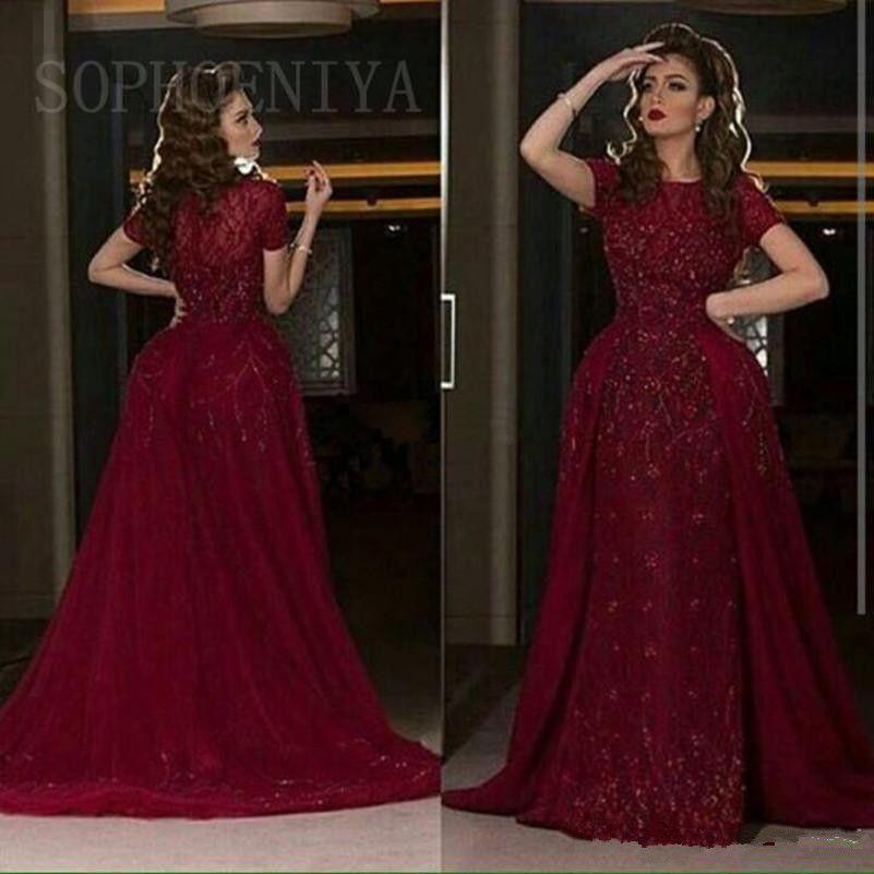 Elegante Burgunder Saudi Arabisch Abendkleider 2018 Jewel Lace Appliques Perlen Mermaid Party Kleider Plus Size Abendkleid Abnehmbarer Rock