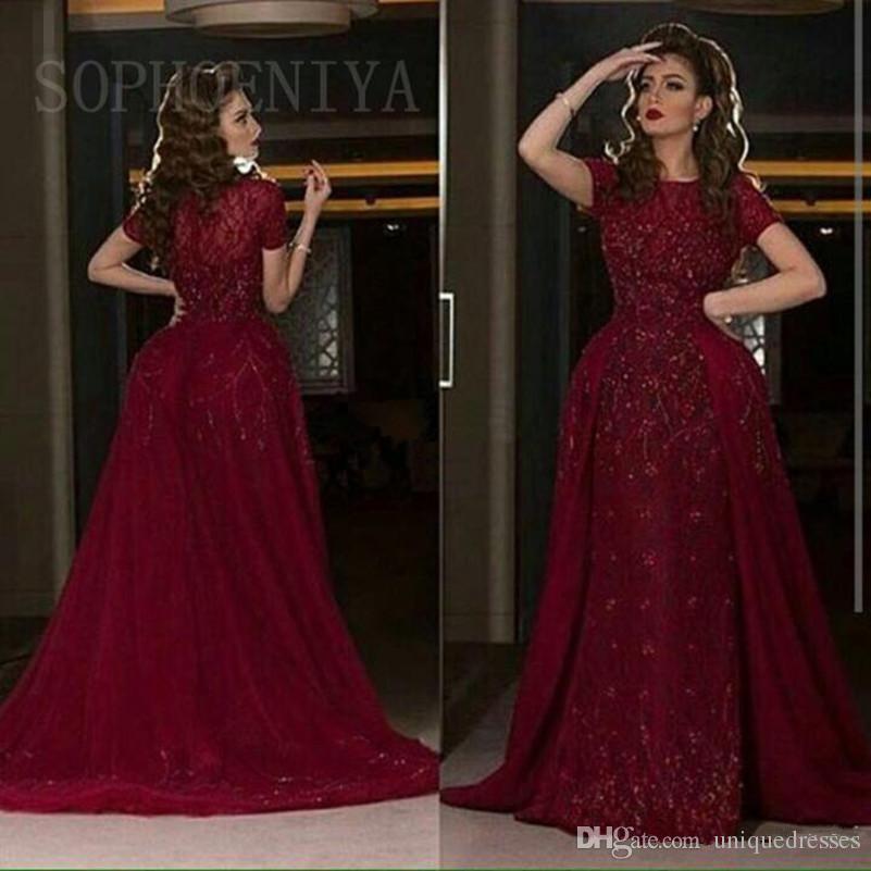 Elegantes vestidos de noche en color árabe saudita borgoña 2018 Joyas Apliques de encaje Sirena con cuentas Vestidos de fiesta Más tamaño Vestido de fiesta Falda desmontable