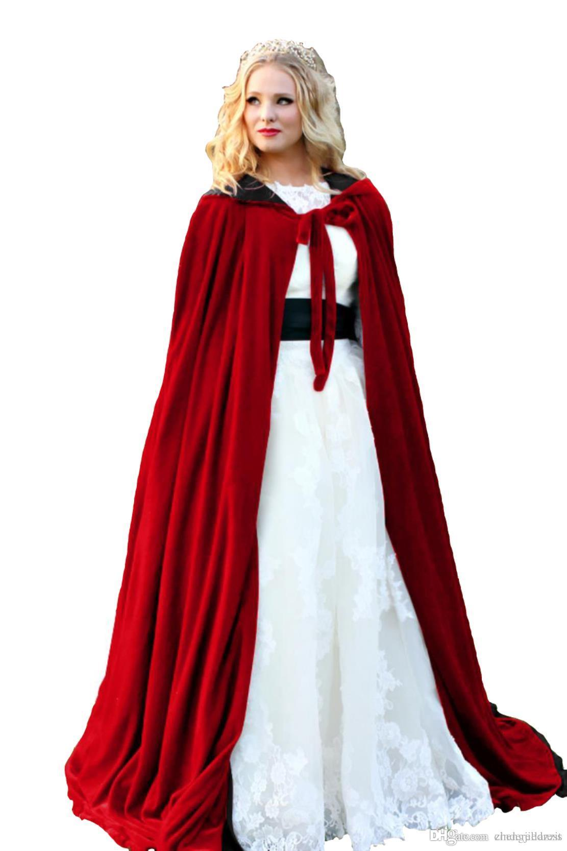 45913b6e7a 2019 Lining Black Hooded Velvet Cloak Gothic Wicca Robe Medieval Witchcraft  Larp Cape Hooded Vampire Cape Halloween Party Cloak Size S 6XXL From ...
