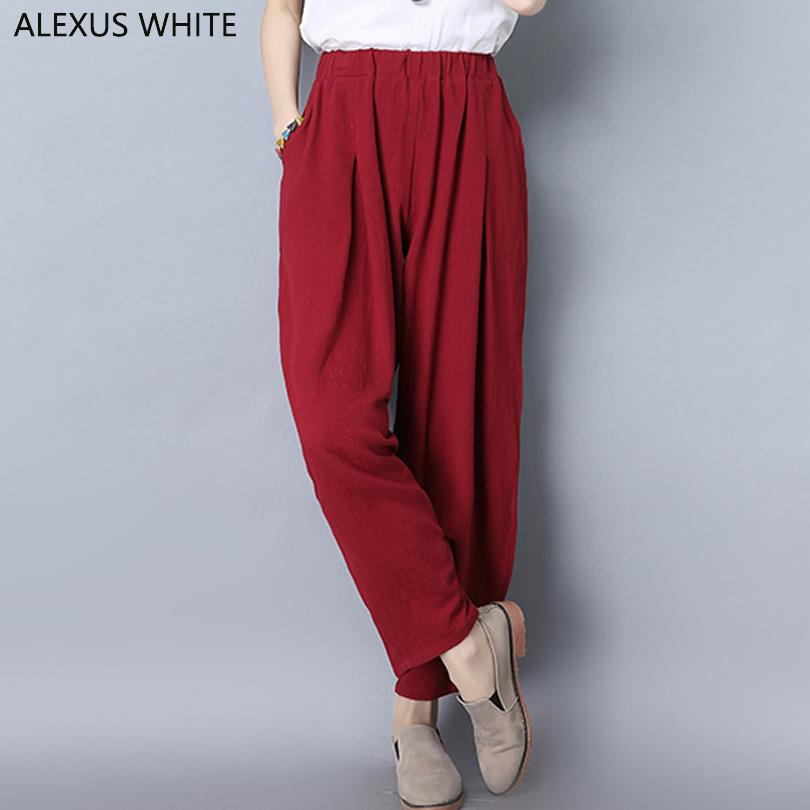 1d08df1749c 2018 Harem Pants Women 2018 Spring Summer Cotton And Linen Radish Pants  Female Solid Color Full Length Loose Casual From Beasy114