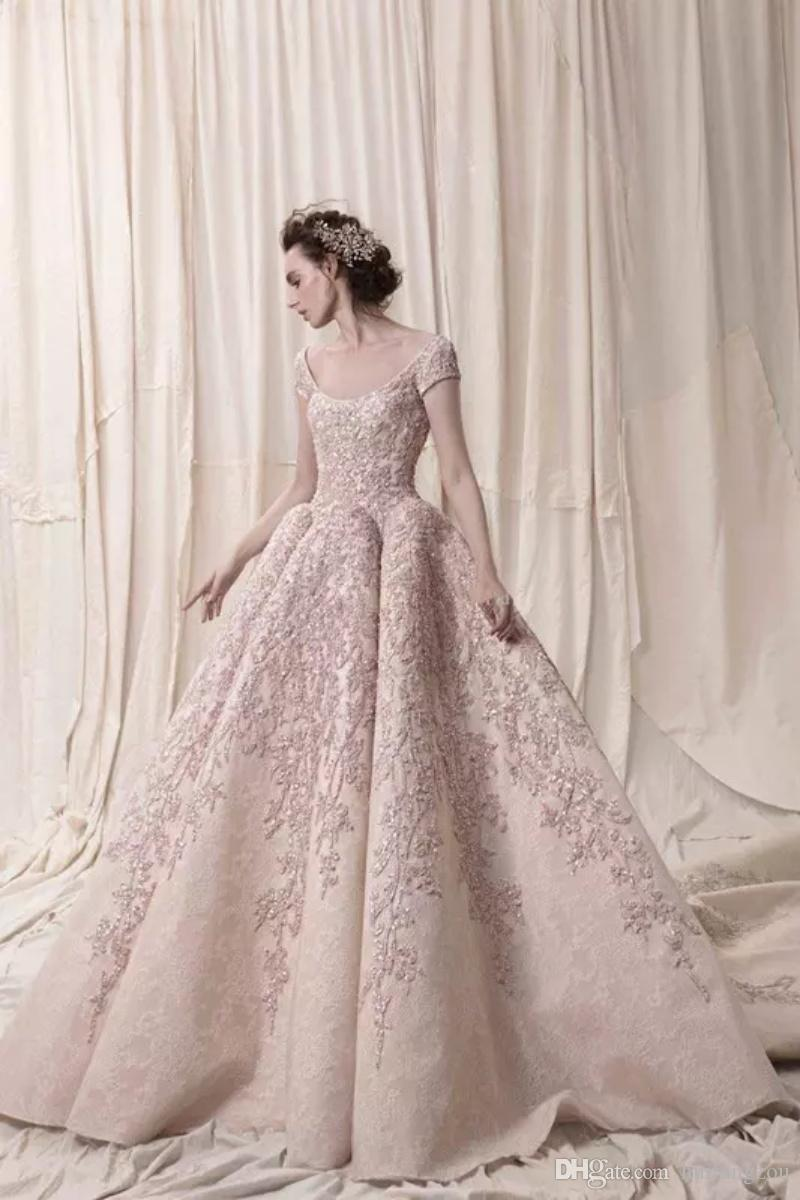 Arab Dubai Short Sleeves Wedding Dresses Ball Gown High Quality Lace Applique 2019 Krikor Jabotian Bridal Gowns Scoop Neckline Wedding Dress