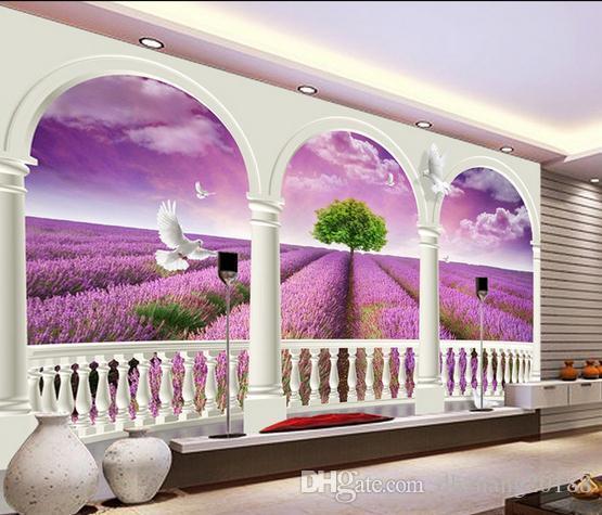 Compre Fondo Purpura De Lavanda Tv Mural De Pared Papel Tapiz 3d