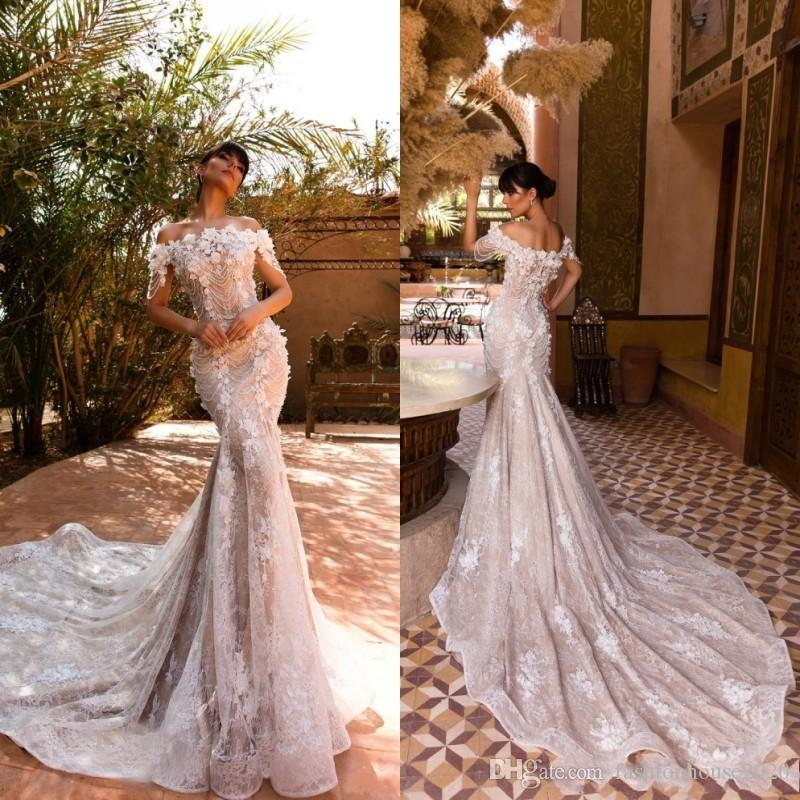 d7f5f300d24 2019 Sexy Modern Champagne Off Shoulder Mermaid Wedding Dresses Full Lace  Appliques Flowers Crystal Beading Formal Plus Size Bridal Gowns Designer  Wedding ...