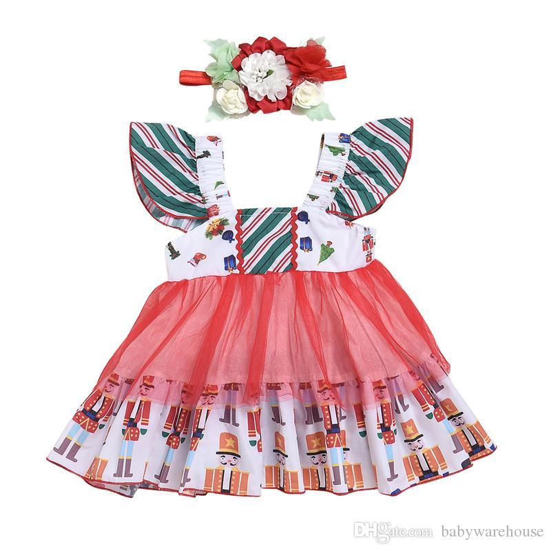 Meninas Vestidos De Natal Infantil Criança Crianças Roupa Da Menina Do Bebê  Princesa Vestido de Festa Boutique Meninas Vestidos Headband Crianças Roupas  0-3 ... 6a6174357457