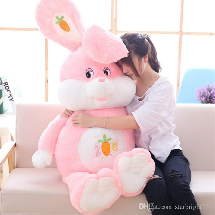 Enorme e macio, Cartoon Rabbit Plush Doll Recheado gigante Anime Pink Bunny Toy Animal Almofada Baby Gift 3 Tamanhos