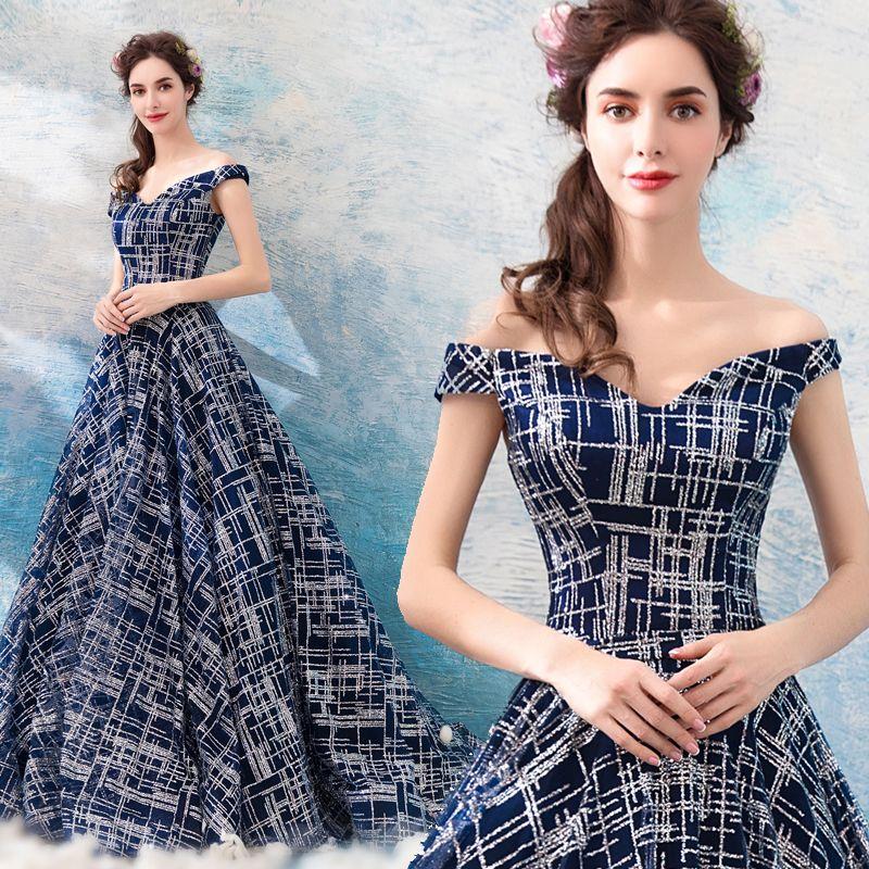 8911e4bb1a Compre Vestidos De Noche Con Lentejuelas Azul Marino 2018 Vestidos De Fiesta  Elegantes Con Cuello En V Una Línea Vestidos De Fiesta Formal Brillante A  ...