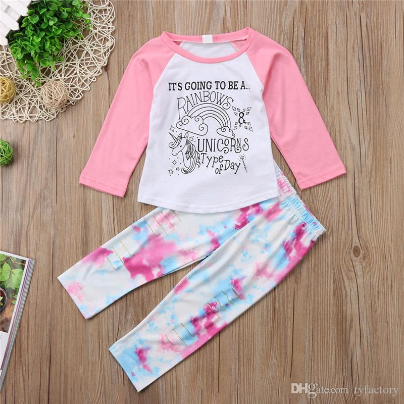 Kid clothes girls pink unicorn T-shirt trousers headband set letter print outfits hole pants baby adorable wholesale clothing 1-6T