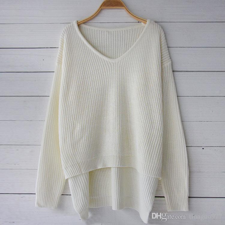 c595e4102 2019 Oversized Sweater Women Fashion Knitted Loose Fit V Neck Casual Pullover  Sweater Tops White Black In Fall Winter From Tinaguo977
